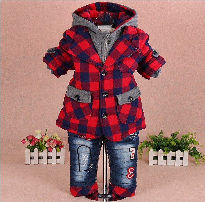 new 2017 winter baby boy plaid cotton-padded thicken warm fleece inside clothing sets 2pcs boys winter coat jeans suit