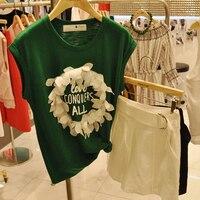 2017 Été Nouvelle Version Coréenne De Mode T-shirt Femmes Dimensions Fleur Impression T-shirt Femelle Bambou Coton Shuit Dames Tops