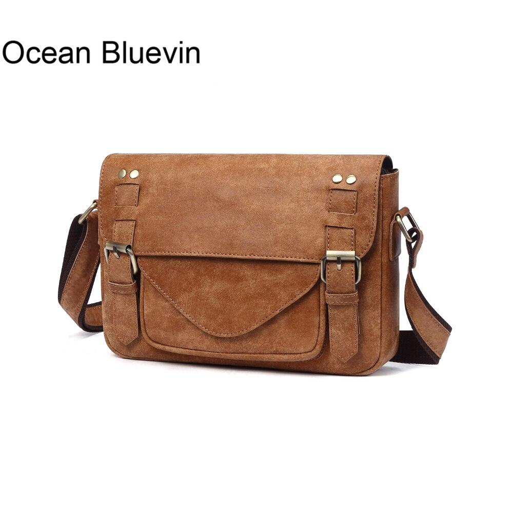 OCEAN BLUEVIN New Hot prawdziwej skóry torby na ramię dla mężczyzn w stylu Vintage Messenger torby Crossbody torba mężczyźni skórzane Bolsos mężczyźni torby w Torby z długim paskiem od Bagaże i torby na  Grupa 1