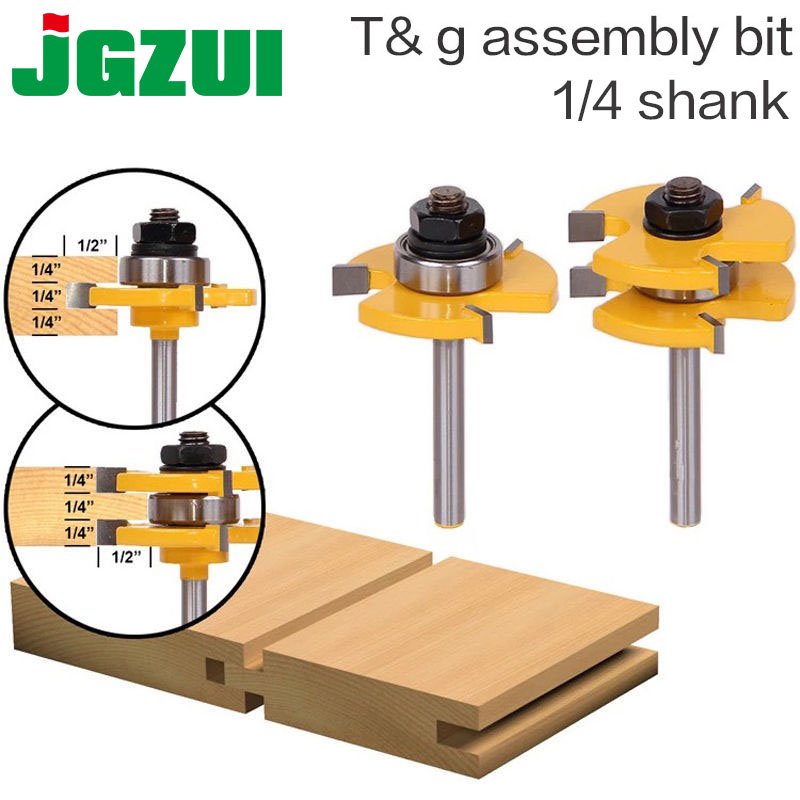 2 pc6.35mm Shank alta calidad Tongue & Groove Asamblea Conjunta Router Bit Set 3/4