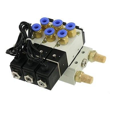 4V110-06 DC 12V 5 Way Triple Solenoid Valve Mufflers Base Quick Fittings Set 1 8 inch airtac 4v110 06 5 way triple solenoid valve connected mufflers base 6mm 8mm quick fittings set dc 12v 24v ac 110v 220v