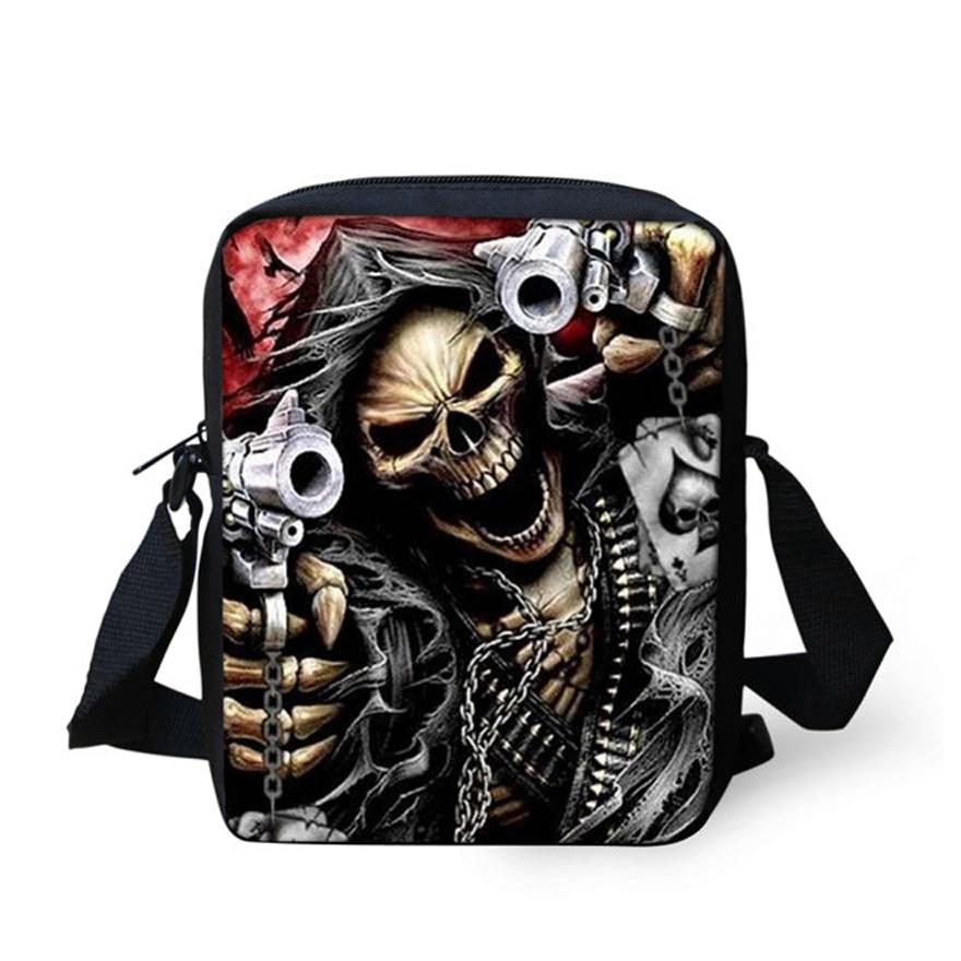 Brand Designer Punk Skull Head Printing Mens Messenger Bags for Men Casual Crossbody Bags, Boys Small Kids Travel Shoulder bag