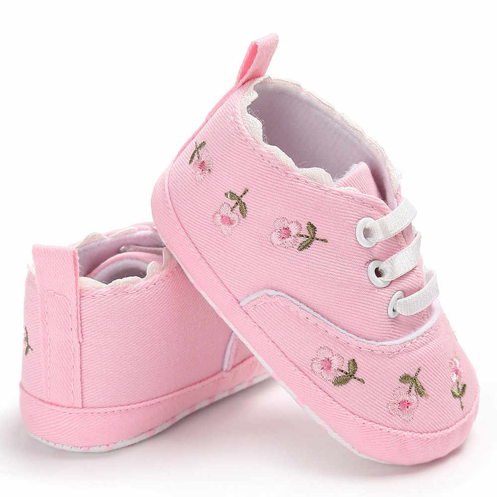 Huang Neeky  W#5 Fashion Daily Newborn Infant Baby Girls Floral Crib Shoes Soft Sole Anti-slip Sneakers Canvas