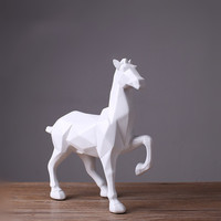 Geometric white horse modern abstract statue resin crafts home decoration office decoration white horse sculpture creative gift
