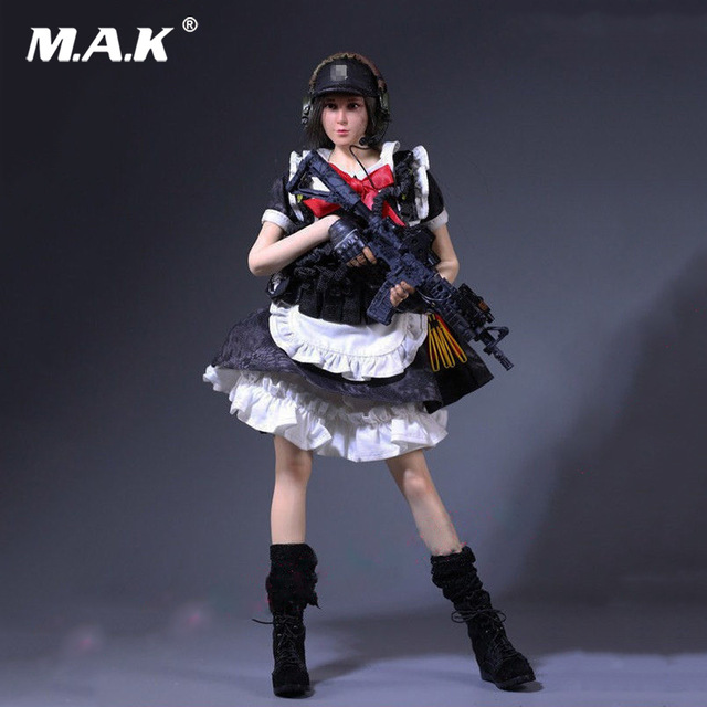 1/6 MCC-003 Black Python Camouflage Armed Maid Suit Clothes Set for 12 inches Female Shooter Collectible Action Figure vortoys v1005 1 6 the british gentleman suit 2 0 in a black b gray c stripe for 12 beckham collectible action figure diy