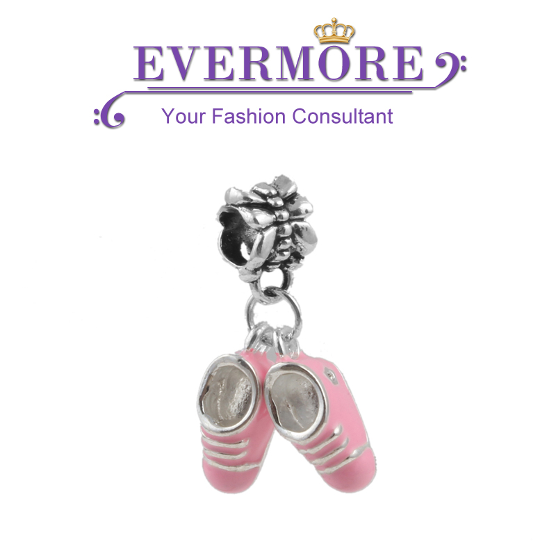 Cute Enamel Baby Shoes Dangle Beads Silver Plated Diy Pendant Charms Fit Pandora Charm Bracelet In From Jewelry Accessories On Aliexpress