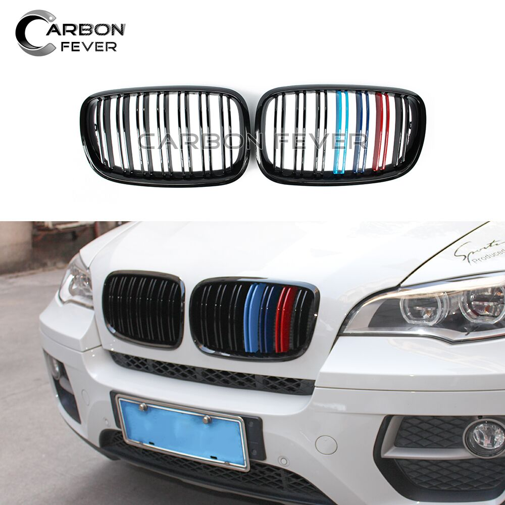 E70 E71 Kidney Grille for BMW X5 X6 SUV 4 Door Grill 2 Slat ABS M color Car Styling 2008 2014
