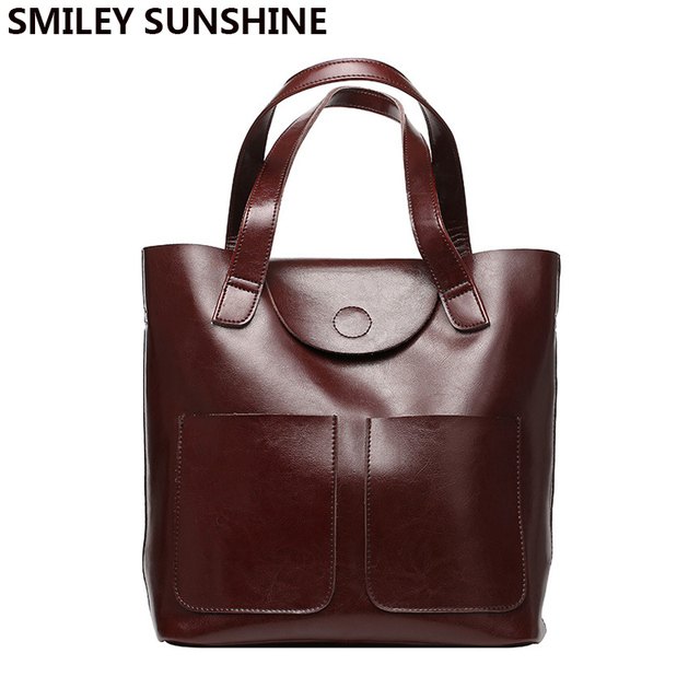 f6878e41a0c0 100% Genuine Leather Ladies Bag Big Capacity Women Patent Cow Leather  Handbags Female Tote Hand Bags Female Shoulder Bag Vintage