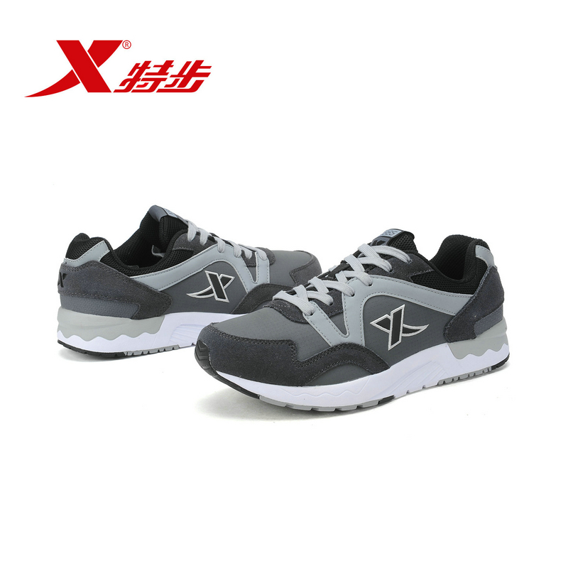 XTEP Brand 2017 Men's Retro Lace Up Flat Sports running Shoes for Men free shipping Sneakers