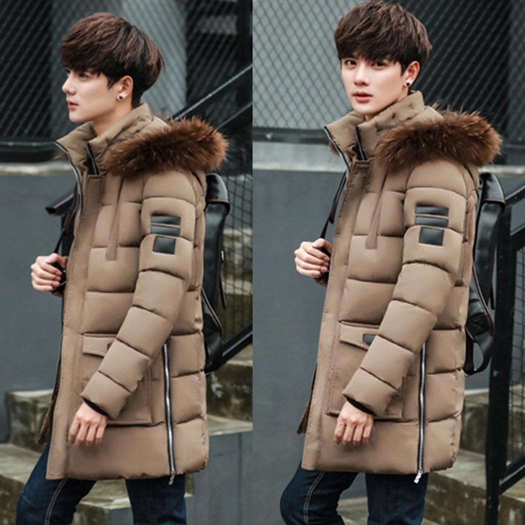 Casual Men Parka Jacket Real Fur Collar Hoodie Winter Warm Coat 2018 Parkas MenS Long Hooded Jacket Overcoat Parka Homme