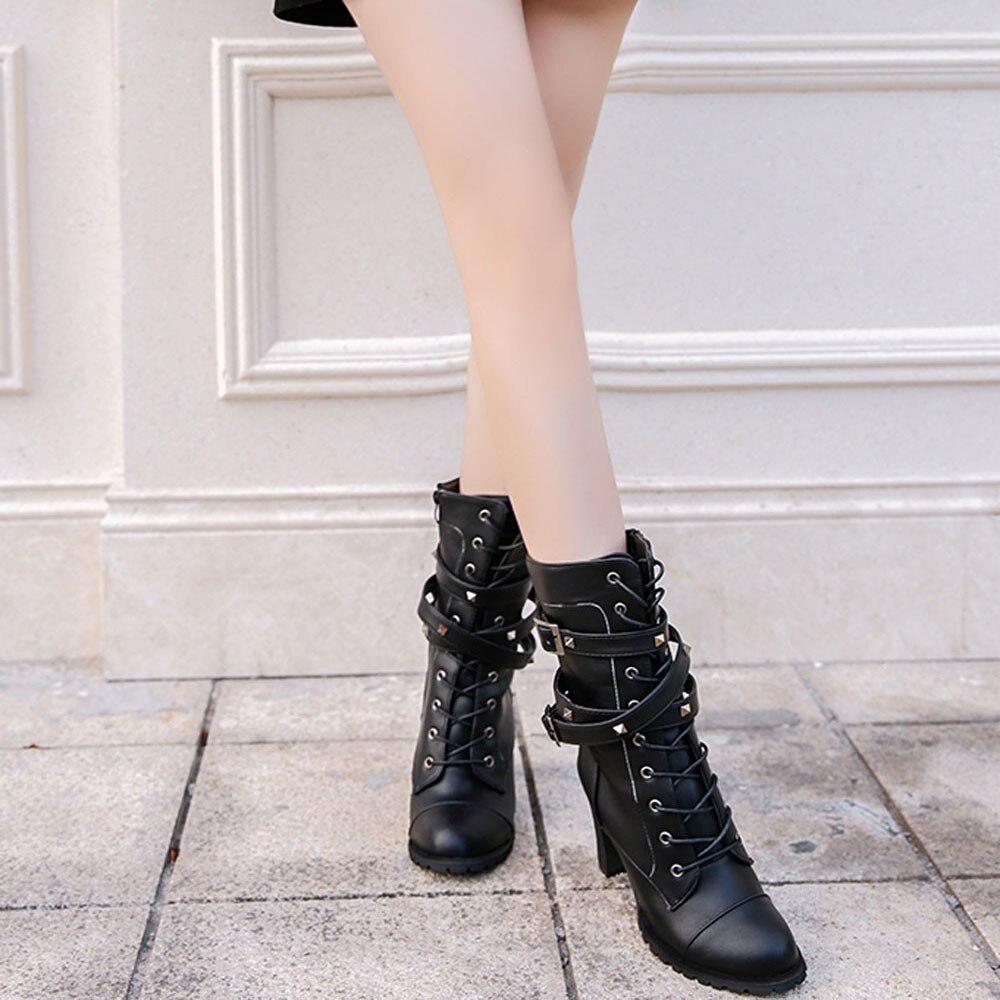 shoes Boots Women Ladies Classics Rivet Belt High Heels Mid-Calf Boots Shoes Martin Motorcycle Zip boots women 2018Oct31 13