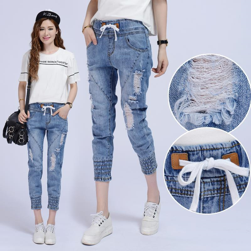 Women Summer and autumn drawstring elastic waist hole denim pant women
