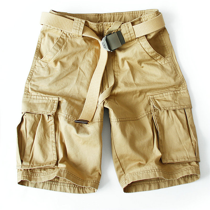 2019 Summer Shorts Men Cotton Casual Solid Military Shorts Mens (Without Belt)