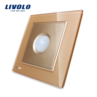 Free Shipping Livolo New Human Induction Switch Golden Glass Panel AC 110 250V Home Wall Light