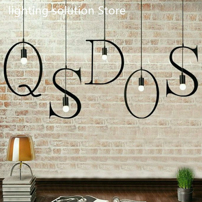 New Nordic Iron Letter Pendant Light DIY Marquee Sign Hanging Lamp bar restaurant cafe suspension Kitchen Light Fixtures