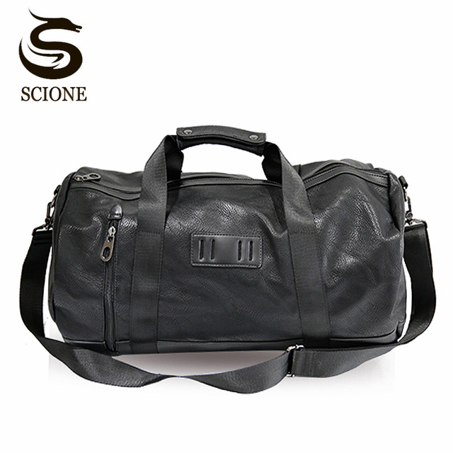 Black PU Leather Travel Bag Multifunction Travel Duffle Bags for Men Women  Handbag Male Large Capacity bc0bb96566