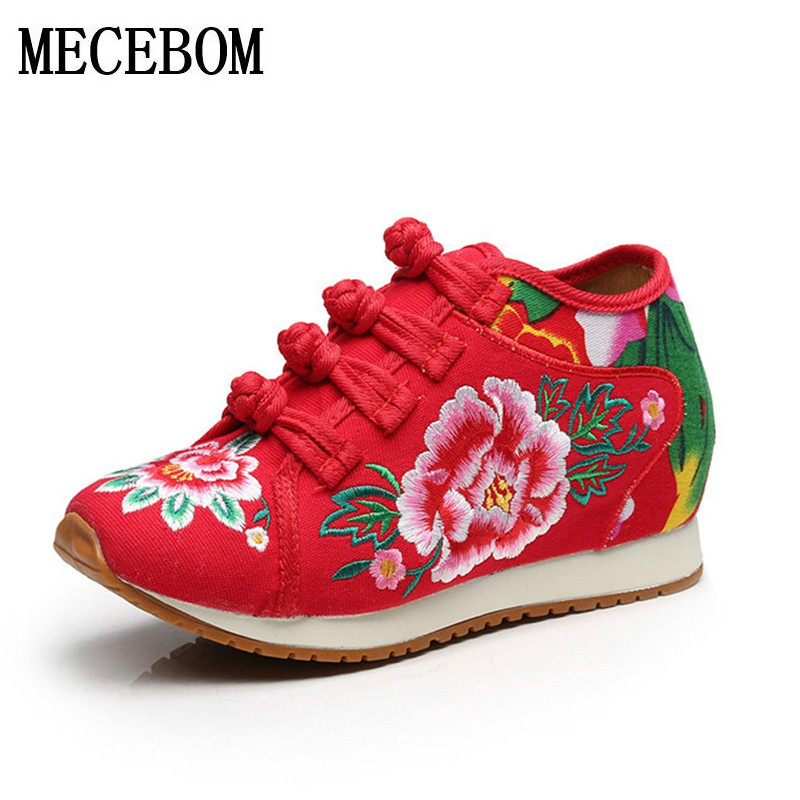 Vintage Women flat Shoes Chinese Old BeiJing Tourism Embroidered Floral Single Walk Dance Canvas Shoes Woman Size 34-41  1341W vintage women pumps flowers embroidered ankle buckles canvas platforms ladies soft casual old beijing shoes zapatos mujer