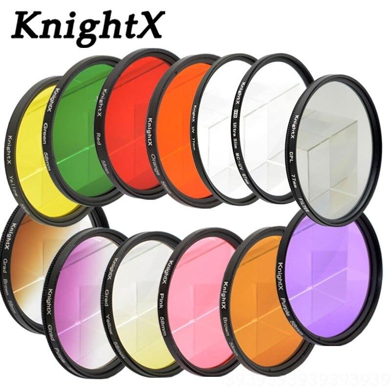 KnightX 24 Grad couleur filtre nd pour nikon canon d40x gopro objektiv 58mm makrofiltro nd vidrio filtro variable 52mm parasol uv