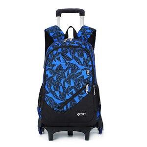 Image 5 - Школьный рюкзак для подростков со съемными детскими школьными сумками с 2/6 колесами и лестницами для мальчиков и девочек, школьный рюкзак на колесиках, сумка для багажа и книг
