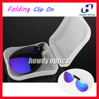 Retail Mirror Lens Frog Driving Glasses Eyeglasses Sunglass Folding Polarized Clip On Sunglasses With Plastic Case