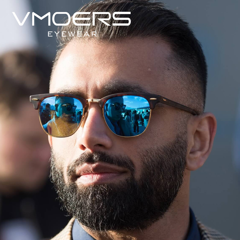 Vmoers Male Semi Rimless Retro Sunglasses Men Polarized 100% Uv400 Shades Vintage Rivet Sun Glasses For Men Lunette Original Box
