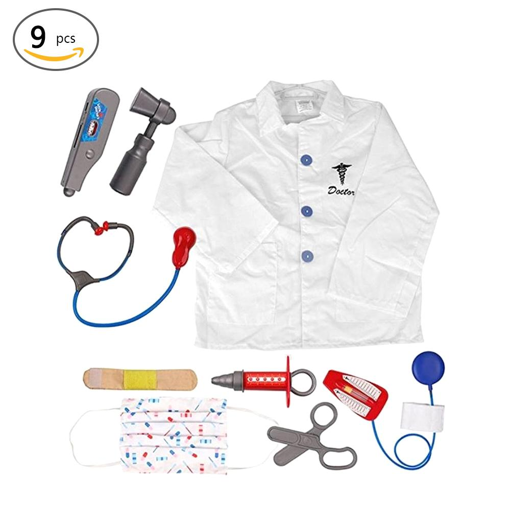 Hot Kids Doctor Role Play Costume Dress Up Set with Lab Coat, Face Mask, Stethoscope, and 6 Additional Medical Tools