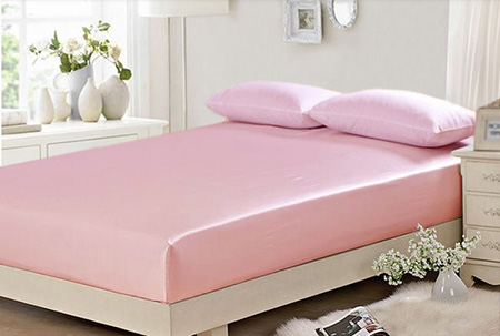 Us 1630 100 Silk Full Size Mattress Cover Children Brand Fitted Sheet 137x190cm Silk Bedding Pink Blue White Coffee Free Shipping In Sheet From