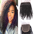 5x5 Lace Closure Brazilian Kinky Curly Virgin Hair Lace Closure Free Middle Three Part  Kinky Curly Closure Queen Hair Products