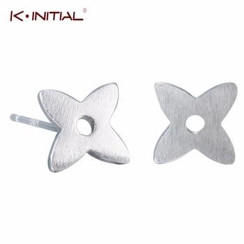 1Pcs  925 Silver Star Leaf Stud Earrings for Women Lucky Four Leaf Clover Earrings Cross Earring Fashion Statement Jewelry Gift