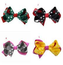 200pcs Multicolor Polka Dot Grosgrain Ribbon Bow Hair Clip