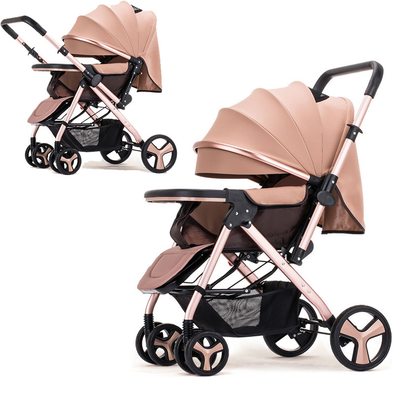 High Landscape Baby Stroller Two way Bi directional Push Handle Baby Pram Lie Flat Baby Carriage Travel Portable Baby Stroller