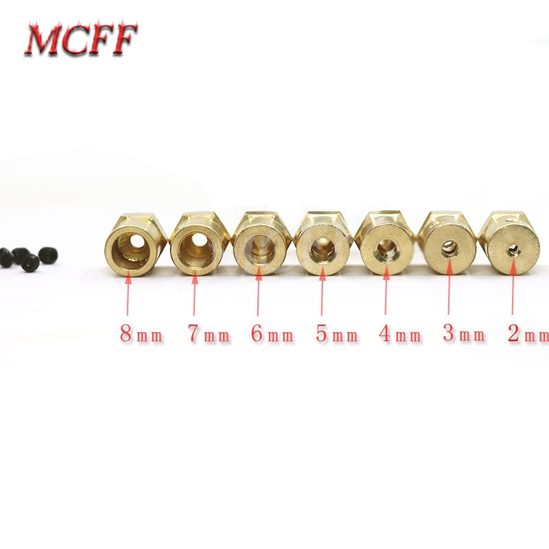 15 Pieces/Lot 3mm 4mm 5mm 6mm 7mm Shaft Motor Flexible Coupling Tyre Wheel Brass Hex Coupler Set With Screws For RC Model  Toys-in Parts & Accessories from Toys & Hobbies