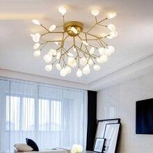 מודרני LED תקרת נברשת תאורת סלון חדר שינה נברשות Creative בית תאורת גופי AC110V/220V זכוכית צל