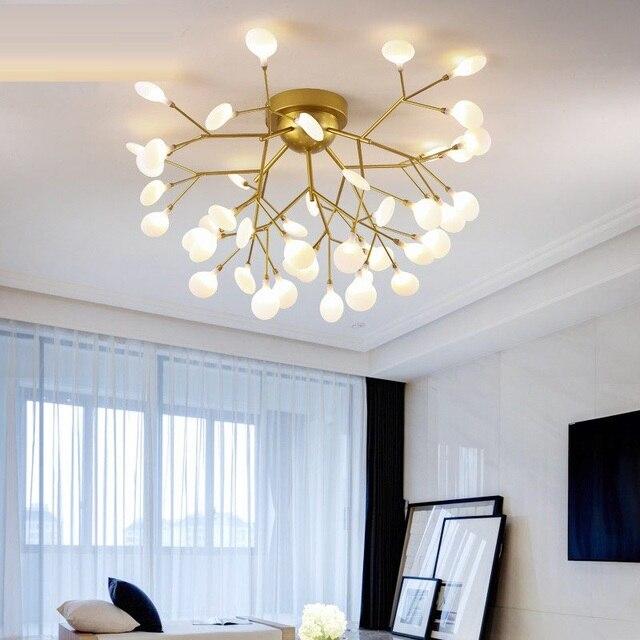 Modern LED Ceiling Chandelier Lighting Living Room Bedroom Chandeliers Creative Home Lighting Fixtures AC110V/220V Glass shade