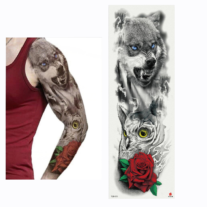 2018 New Full Flower Arm Tattoo Sticker Skeletons and Roses Temporary Body Paint Water Transfer Tattoo Sleeve in Temporary Tattoos from Beauty Health