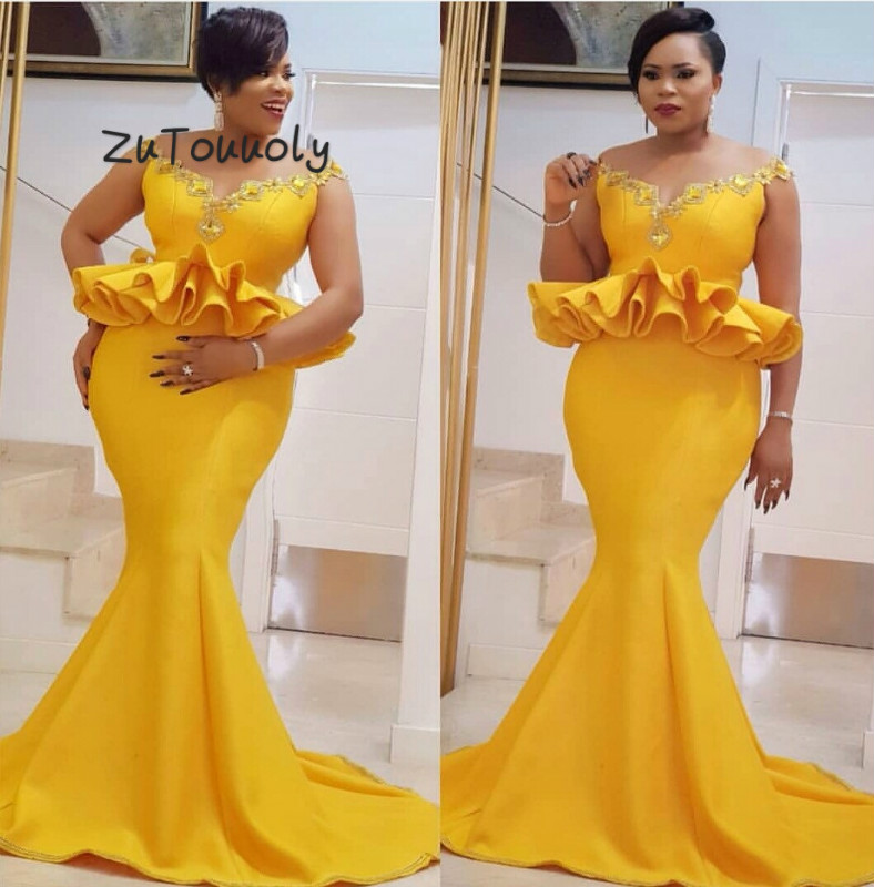 Vintage Bright Yellow Mermaid   Prom     Dresses   Plus Size African Cap Sleeves Aso Ebi Formal Evening Gowns With Peplum Custom 2019