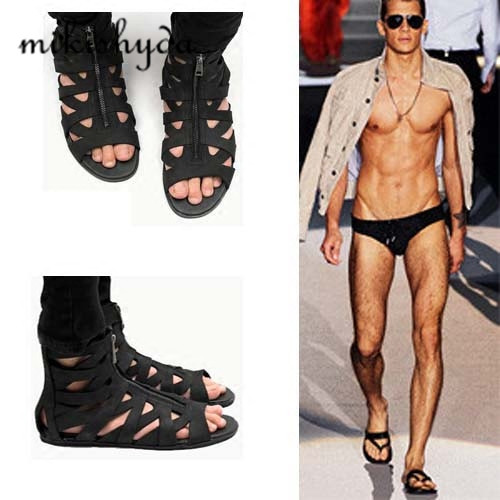 0f855720e812 HOT Man Sandals Punk style Leather Summer Cool Beach Shoes Cut Out Flip  Flops Roman Male Black Sandals High Top Man Summer Boot-in Men s Sandals  from Shoes ...
