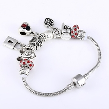 Antique Silver Minnie Charm Fit Panora Women Wristband Bangle Bracelet Love Flower Paw Beads Colorful Crystal Balls Bracelets(China)