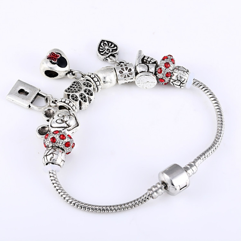 Antique Silver Minnie Charm Fit Panora Women Wristband Bangle Bracelet Love Flower Paw Beads Colorful Crystal Balls Bracelets ...