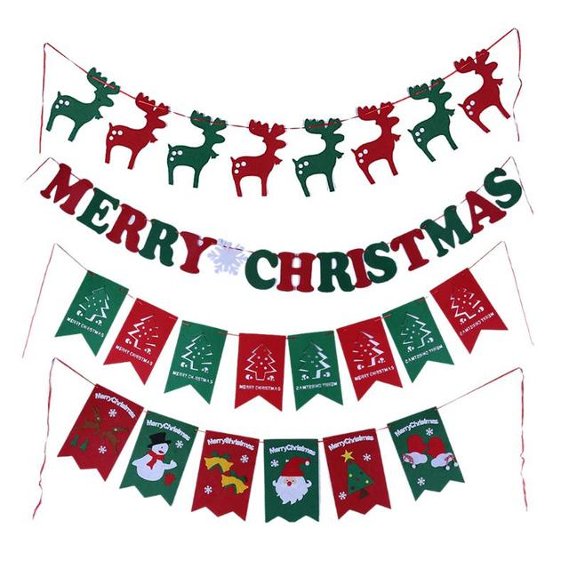 bunting banner flag christmas pattern christmas decorations gift hang flags banner garland christmas outdoor party decor - Christmas Outdoor Decoration Patterns