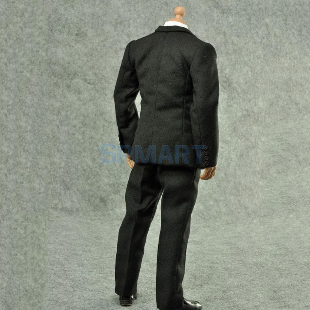 """12/"""" Action Figure Suit Formal Clothes 1:6 Shirt Black Coat Shirt Pants Shoes"""