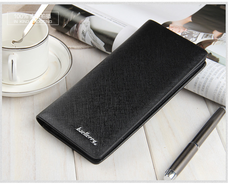 retro cross pattern leather men wallet long Slim male purse utral Thin clutch wallet vintage student money bag small coin pocket retro wallet for men genuine leather vintage brand male clutch bag design removed coin purse zip