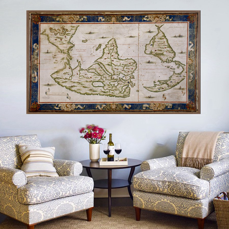 Frameless Vintage Old World Map For Home Decorations High Quality Picture  Prints On Canvas Office Wall