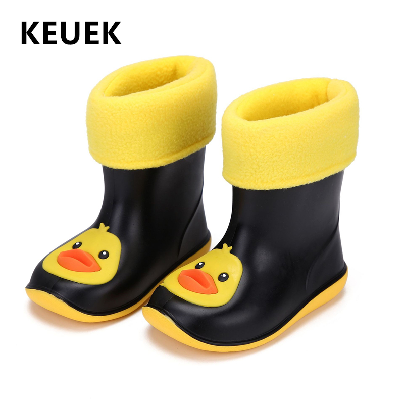 New Kids Rain Shoes Fashion Children Boots PVC Rubber Boy Baby Cartoon Shoes Girl Waterproof Rain Boots Warm Plush Snow Boots 3B