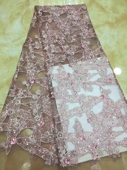 Fashion sequins Lace High Quality African Tulle Lace Fabric New Arrival Nigerian Lace Fabrics For Wedding Dress TS7056