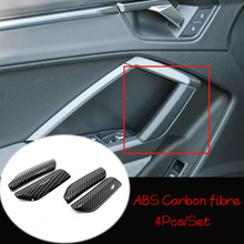 For Audi Q3 2019 2020 ABS Matte/Carbon fibre Front Armrest Panel Door Handle Decoration Cover Trim Car Styling Accessories 4pcs for audi q3 2019 2020 abs matte carbon fibre car front column sound decoration cover trim car styling accessories 2pcs