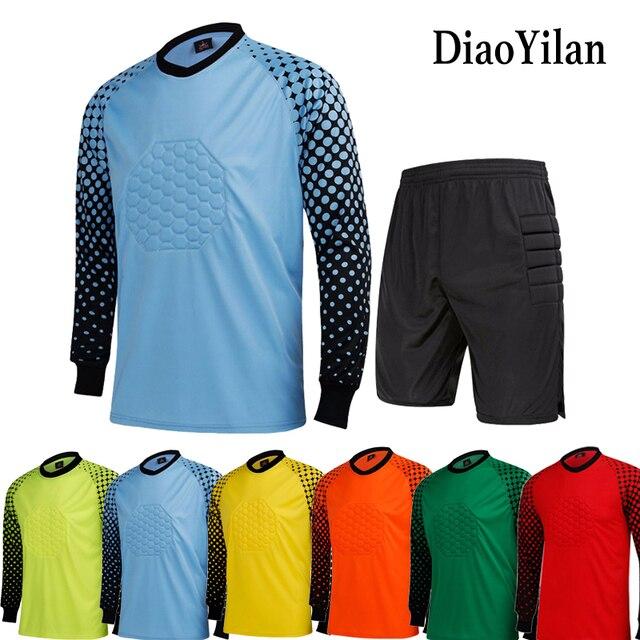 Dos homens novos da Marca Conjuntos Uniformes de Goleiro Futebol Goleiro  Camisa de Futebol Terno Treinamento 6d6758fa4a122