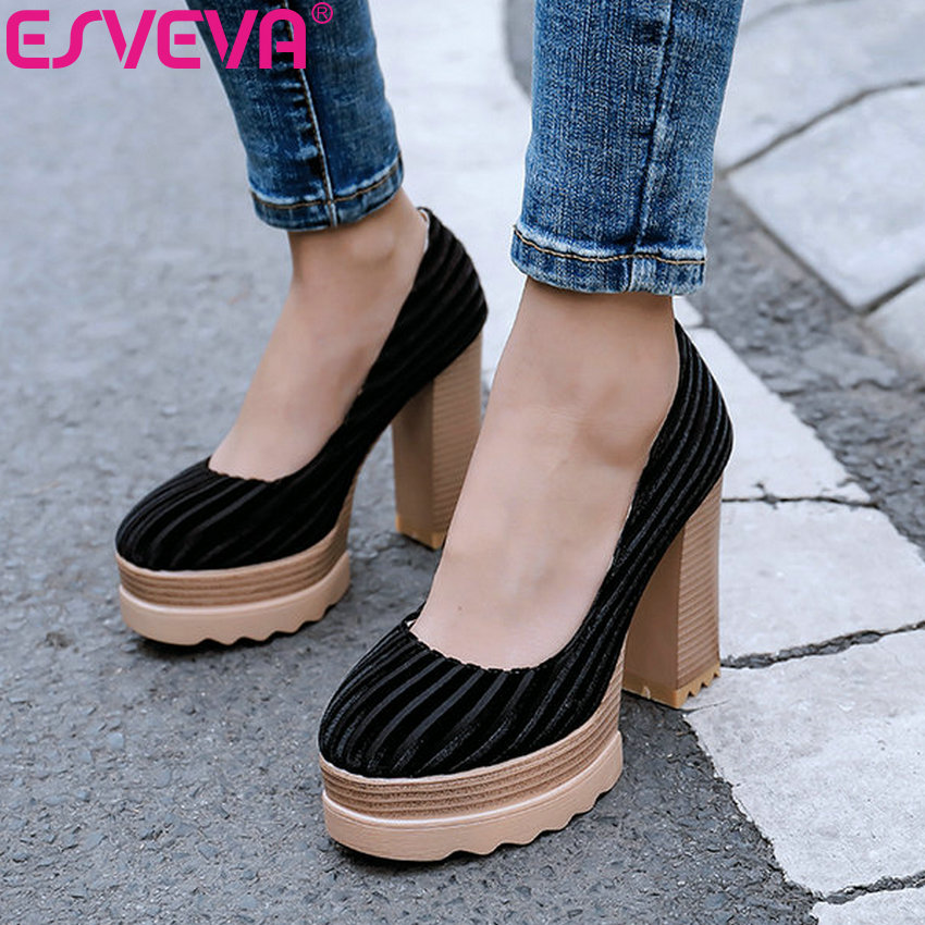 ESVEVA 2019 Women Pumps Square High Heel Pointed Toe Striped  Shoes Flock+PU Slip On Western Style Platform 2.5cm Size 34-41