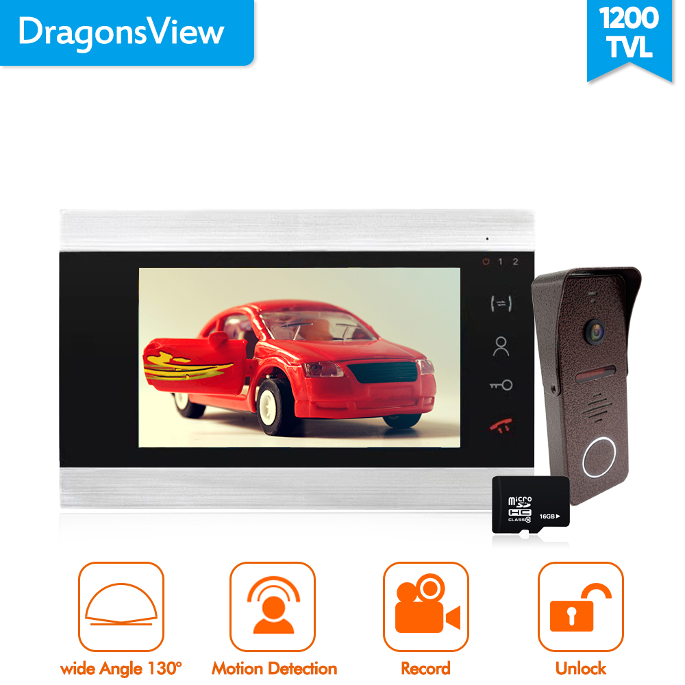 Dragonsview 7 Inch Video Doorbell Camera With Monitor 1200TVL Record Wide Angle Video Door Phone Intercom System IR 2.3mm Lens