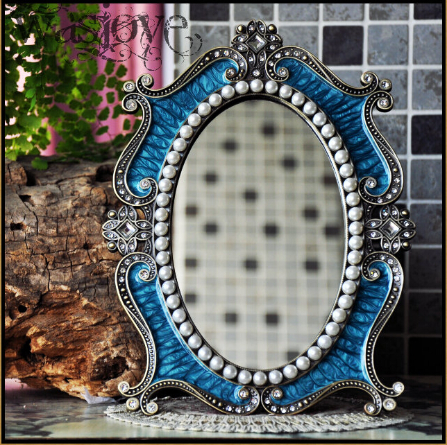 desktop makeup cosmetic mirror floral embossed jewelry pearl-inlayed metal frame table decoration mirror makeup white J2194A